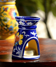 Blue Pottery Blue Floral Small Oil Burner