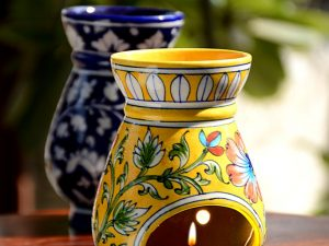 Blue Pottery Yellow Floral Oil Burner
