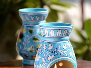 Blue Pottery Turquoise Floral Oil Burner