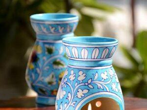 Blue Pottery Turquoise Floral Oil Burner