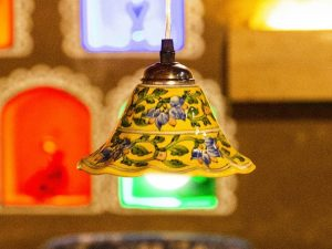 Blue Pottery Handmade Yellow Floral Hanging Lamp