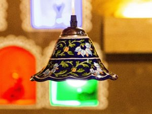 Blue Pottery Handmade Blue Floral Hanging Lamp