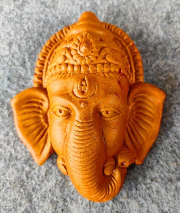 Lord Ganesha Face Wall Hanging Terracotta Showpiece