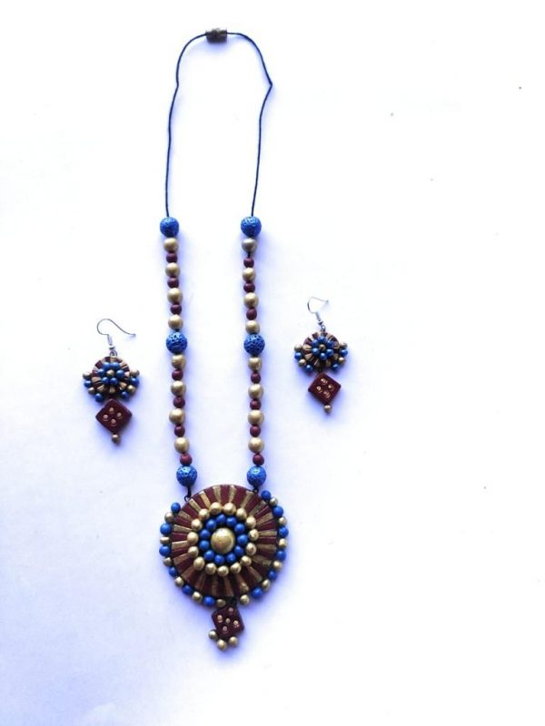 Blue meets Maroon Terracotta Necklace Set  