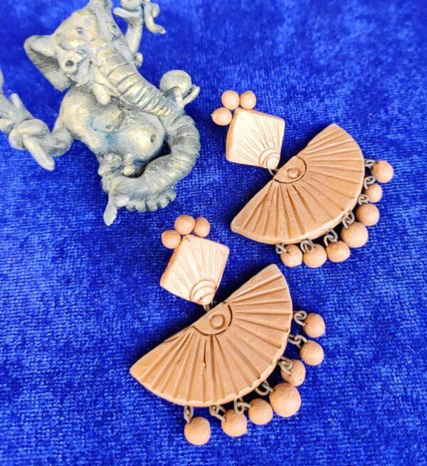 Antique Fan Shaped Terracotta Earrings |