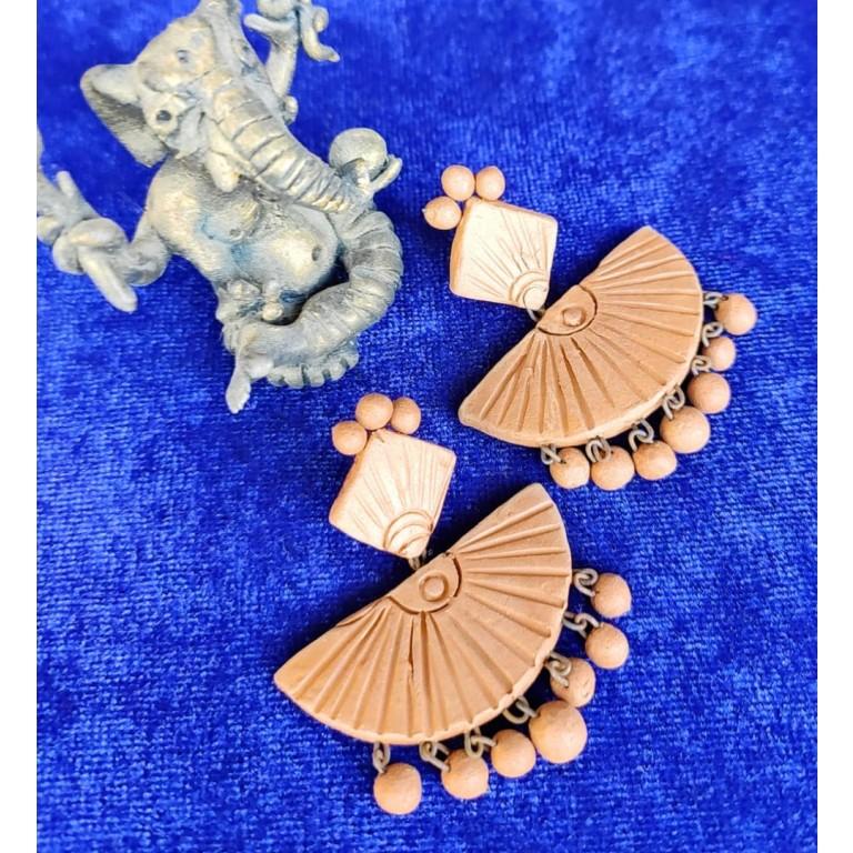Antique Fan Shaped Terracotta Earrings  