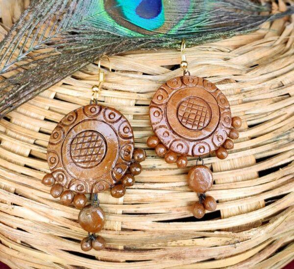Wooden Painted Terracotta Earrings |