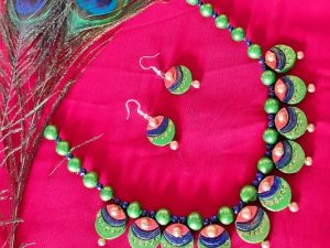 Peacock Eye Terracotta Necklace Set