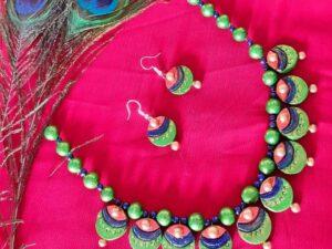 Peacock Eye Terracotta Necklace Set