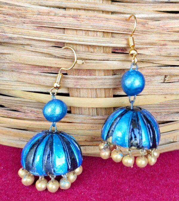 Sparkling Blue Terracotta Jhuma Set |