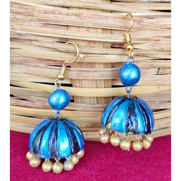 Sparkling Blue Terracotta Jhuma Set  