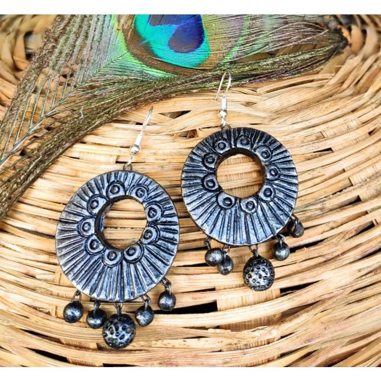 Metal Paint Terracotta Earrings |