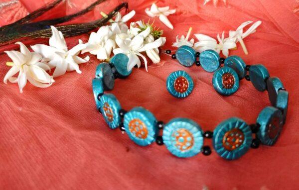 Turquoise Terracotta Chokar Set |
