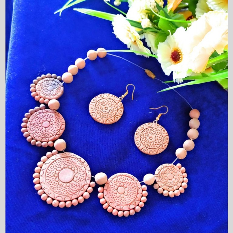 Carfted Coins Terracotta Necklace Set  
