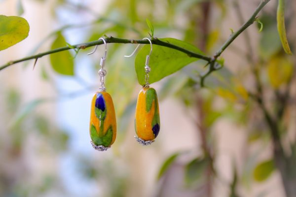 Blue Pottery Yellow Oval Shape Drop Earring