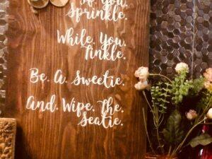 Wooden Restroom Signage