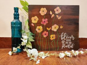 Hand Painted Rustic Floral Plaque