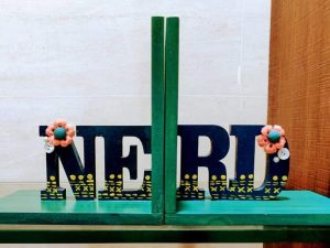 Teal Green Nerd Bookends