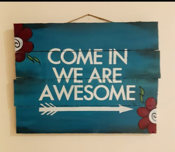 Teal Awesome Welcome Wood Plaque