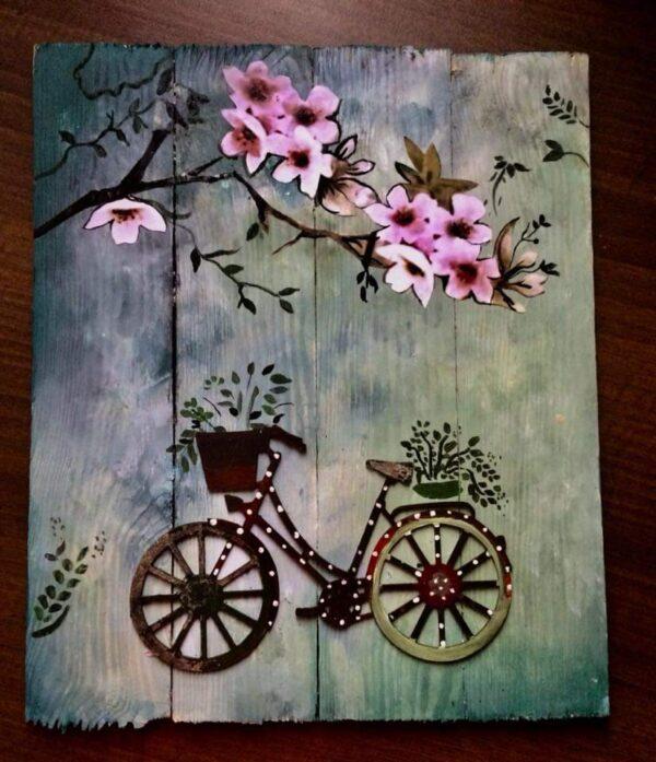 Teal Grey Floral Plaque