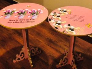 Peach Pink Floral Table Set