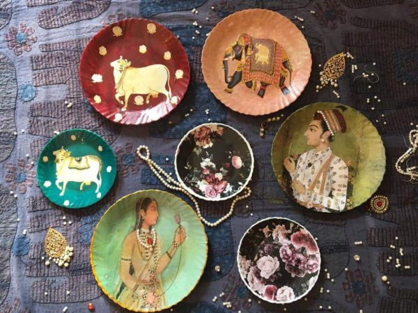 Royal Theme Lacquer Wall Plates - Set of 7