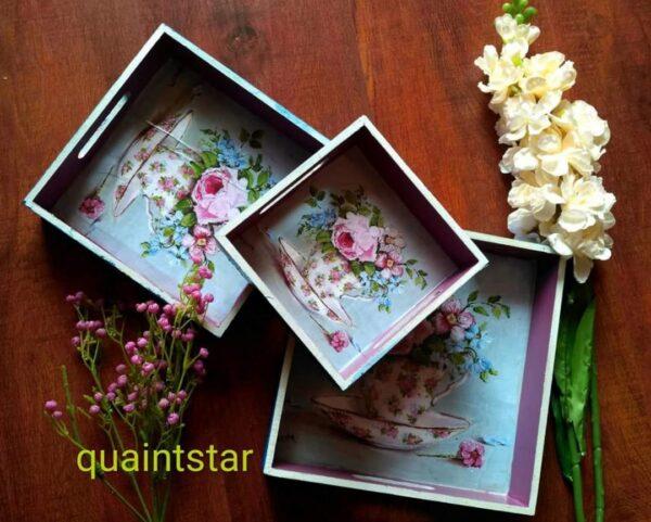 Vintage Floral Blue Tray Set