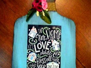 Teal Floral Chopboard Key holder
