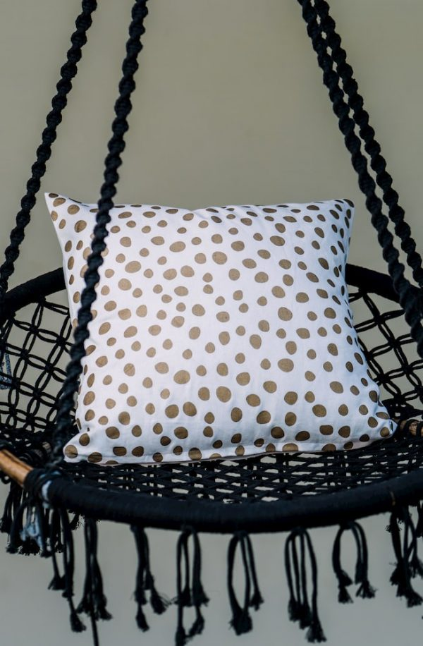 Golden Polka Cushion Cover