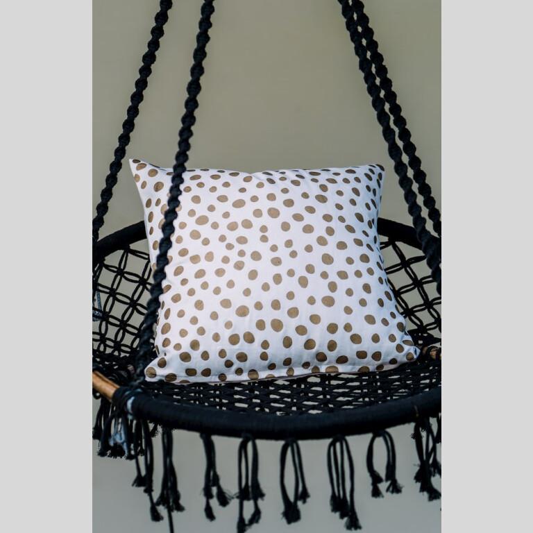 Golden Polka Cushion Cover