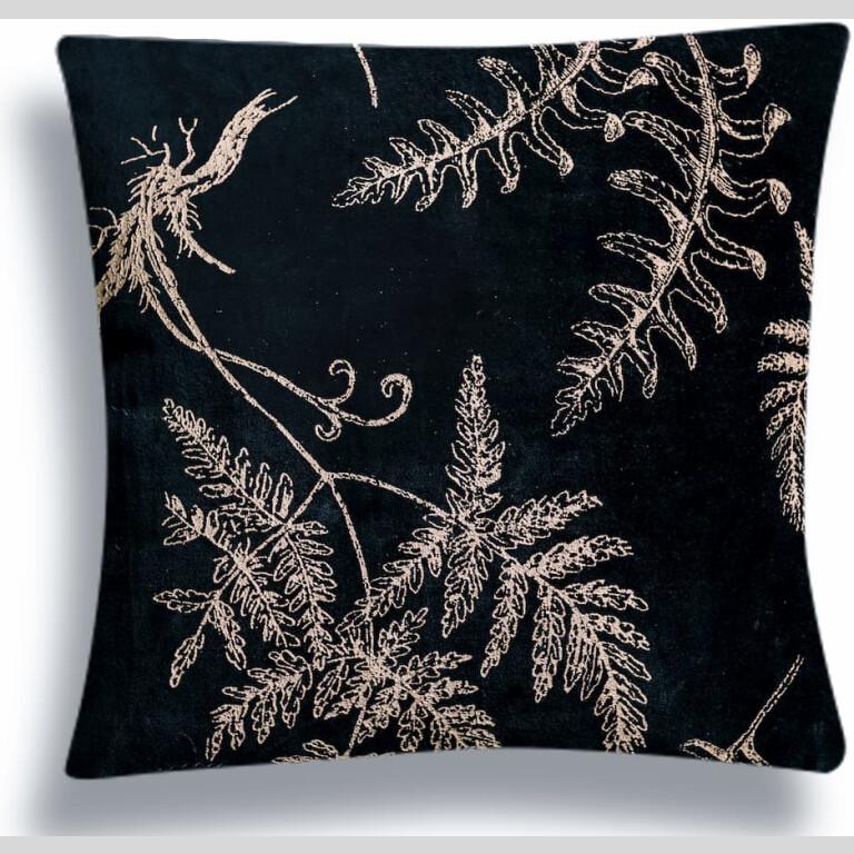 Black Fern Velvet Cushion Cover  