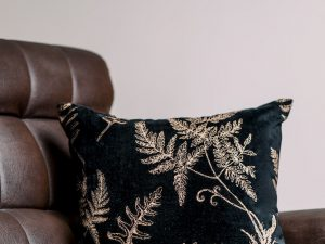 Black Fern Velvet Cushion Cover