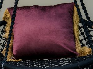 Maroon Velvet golden Fringe Cushion Cover