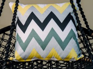 Monochrome Yellow Zig-Zag Cushion Cover