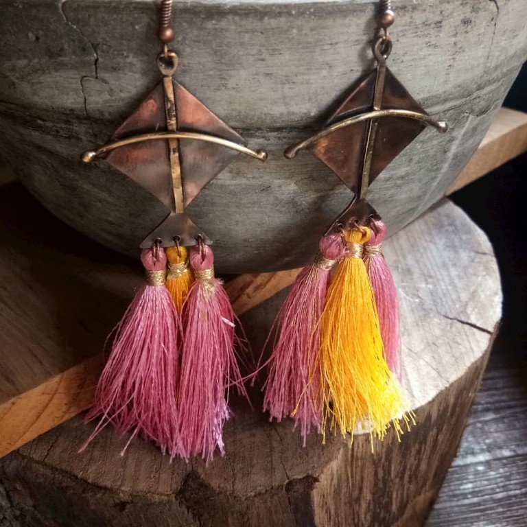Kite Earrings With Pink And Yellow Tassels