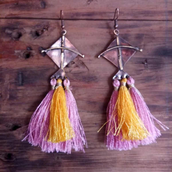 Kite Earrings With Pink And Yellow Tassels |