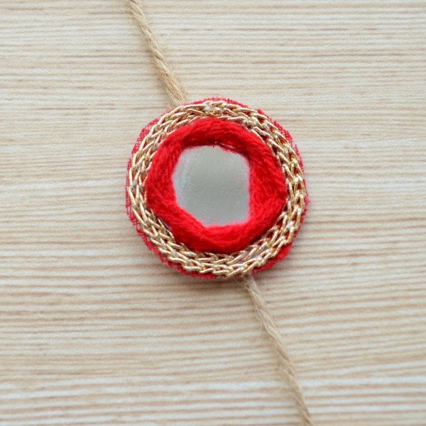 Simple Red and Gold Rakhi |