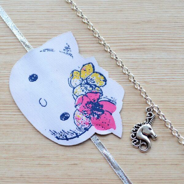 Silver Unicorn Bracelet with Kitty Rakhi |