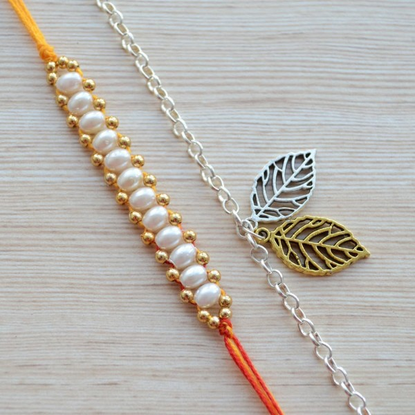 Simple Mauli Thread with Two Tone Gold Silver Plated Leaf Metal Bracelet Rakhi |