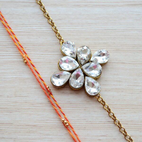 Gold Plated Jewelry Square Kundan Rakhi Bracelet with Mauli Beaded Rakhi for Brother  