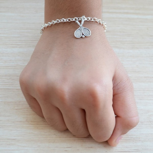 Silver Tennis Racket Bracelet with Kitty Rakhi |