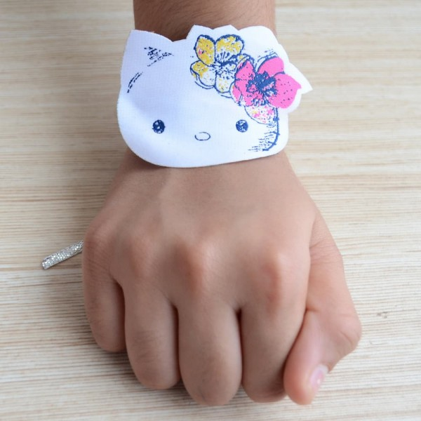 Beautiful Gift Set of Gold and Silver Plated Cycle Bracelets with Hello Kitty Rakhi for Kids
