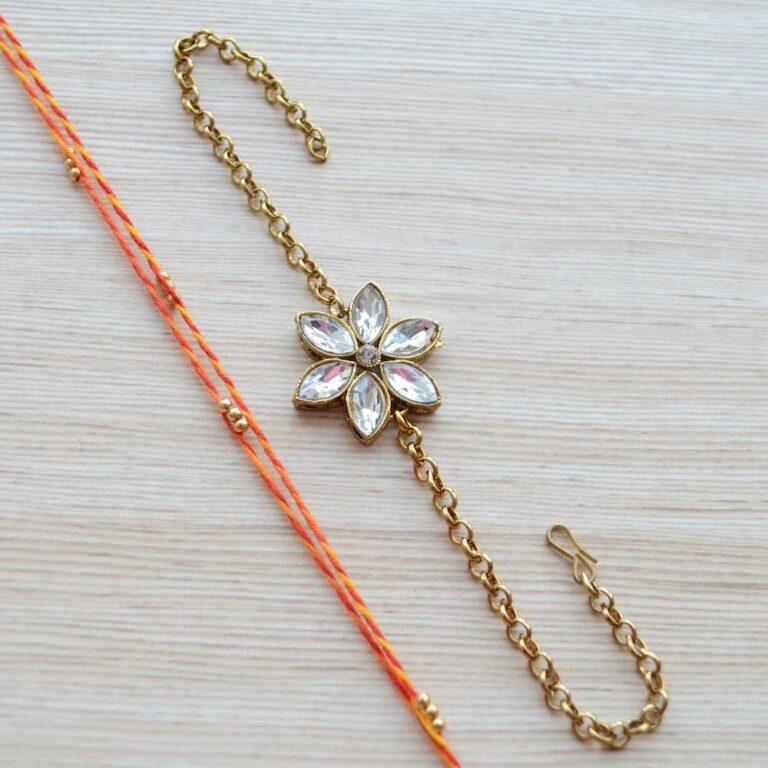 Gold Plated Jewelry Kundan Flower Rakhi Bracelet with Mauli Beaded Rakhi for Brother
