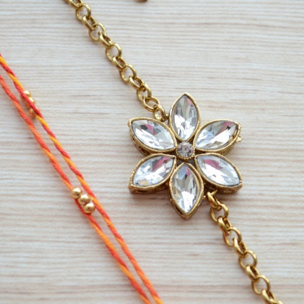 Gold Plated Jewelry Kundan Flower Rakhi Bracelet with Mauli Beaded Rakhi for Brother |