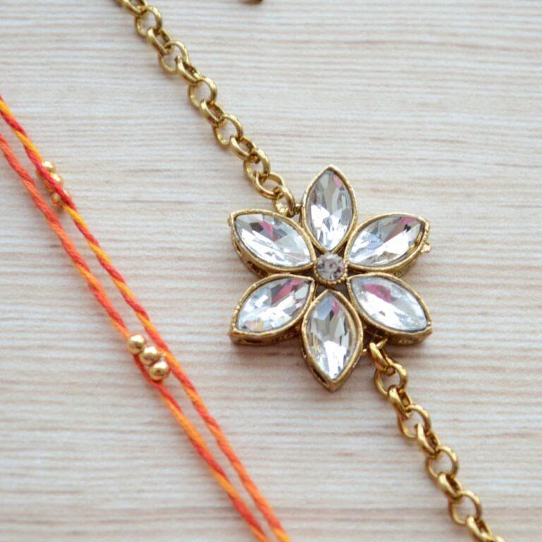 Gold Plated Jewelry Kundan Flower Rakhi Bracelet with Mauli Beaded Rakhi for Brother |