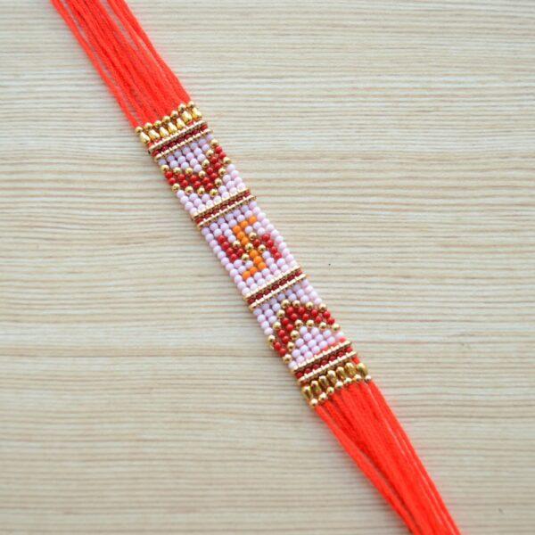 Traditional Red Swastik Beaded Braided Thread Rakhi