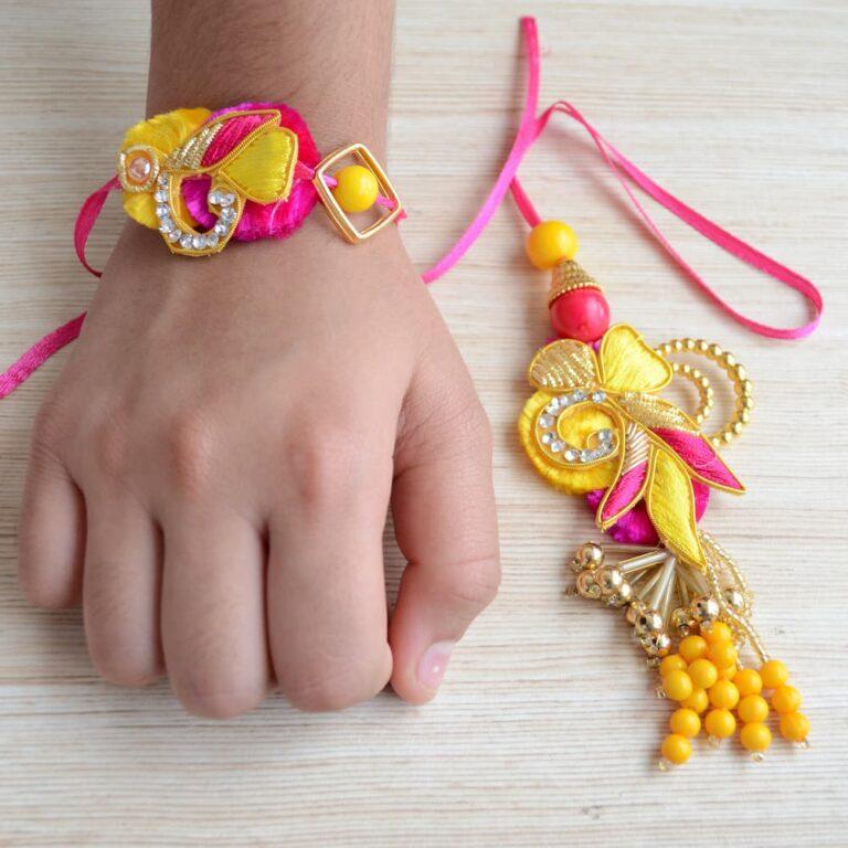 Yellow and Pink Ethnic Lumba Rakhi Set