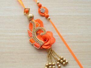 Ethnic Saffron Rakhi Lumba Set for Bhaiya Bhabhi