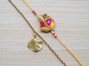 Raksha Bandhan Ethnic Rakhi with Gold Plated Bracelet Gift for Brother