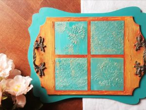 Teal orange vintage gold tray